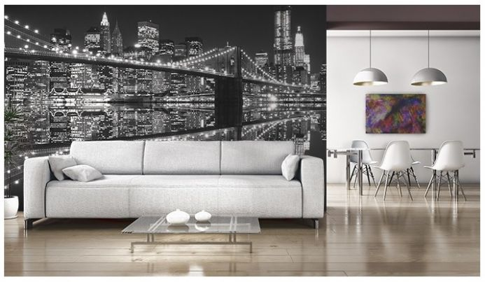 New York City night lights giant wall mural